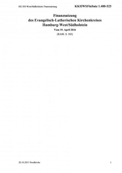 1.400-523 KK HH-West/Südholstein Finanzsatzung