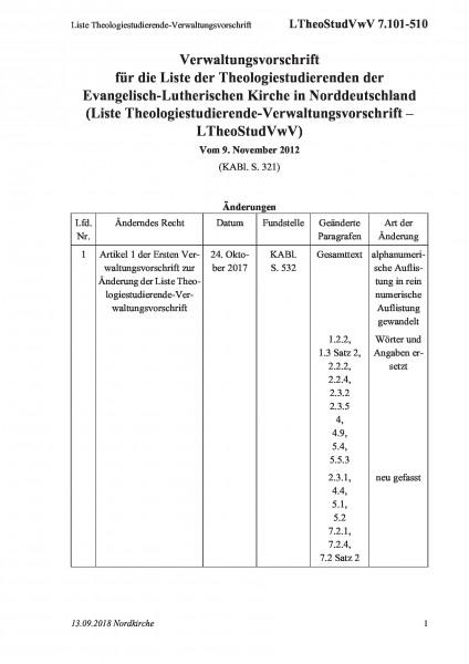 7.101-510 Liste Theologiestudierende-Verwaltungsvorschrift