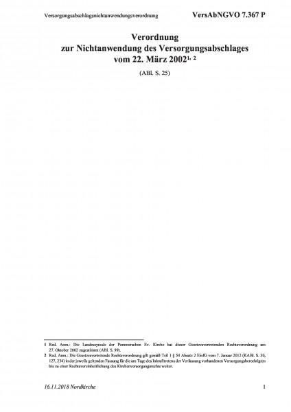 7.367 P Versorgungsabschlagsnichtanwendungsverordnung