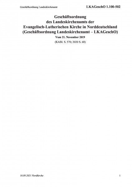 1.100-502 Geschäftsordnung Landeskirchenamt