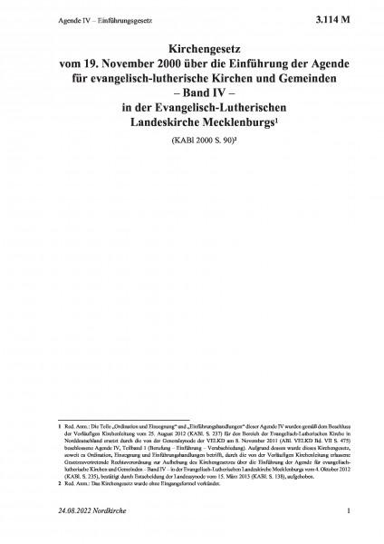 3.114 M Agende IV – Einführungsgesetz