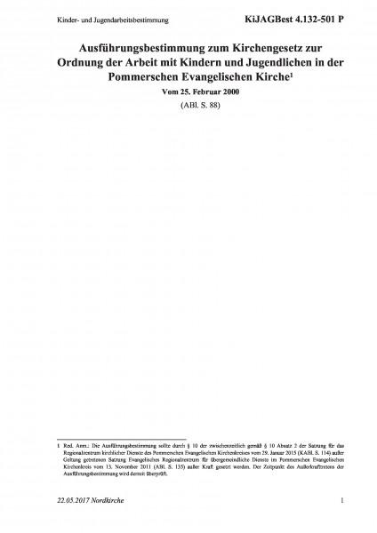 4.132-501 P Kinder- und Jugendarbeitsbestimmung