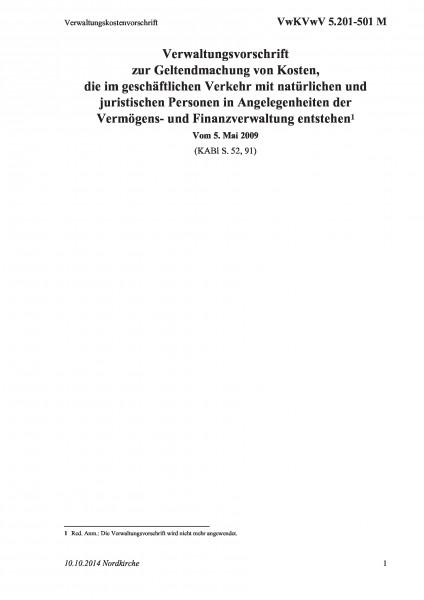 5.201-501 M Verwaltungskostenvorschrift