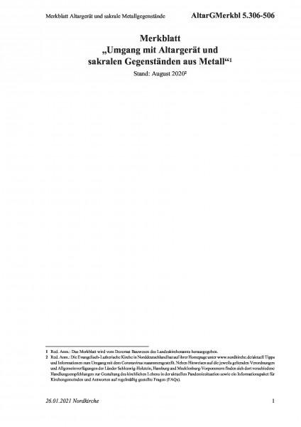 5.306-506 Merkblatt Altargerät und sakrale Metallgegenstände