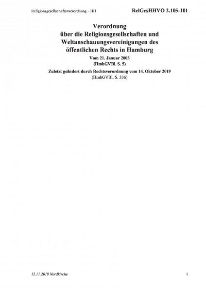 2.105-101 Religionsgesellschaftenverordnung – HH