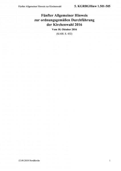 1.501-505 Fünfter Allgemeiner Hinweis zur Kirchenwahl