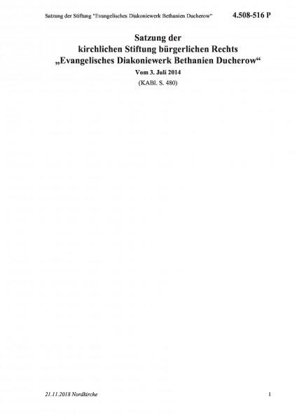 """4.508-516 P Satzung der Stiftung """"Evangelisches Diakoniewerk Bethanien Ducherow"""""""