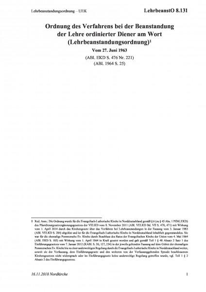 8.131 Lehrbeanstandungsordnung – UEK