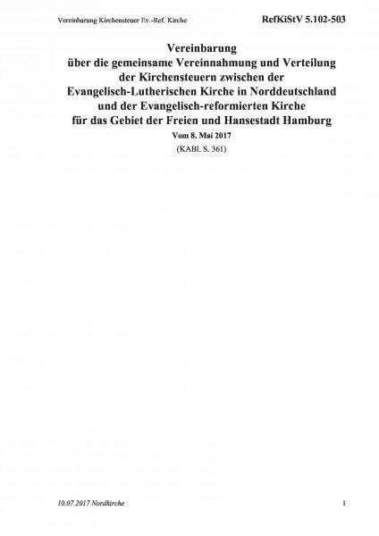 5.102-503 Vereinbarung Kirchensteuer Ev.-Ref. Kirche