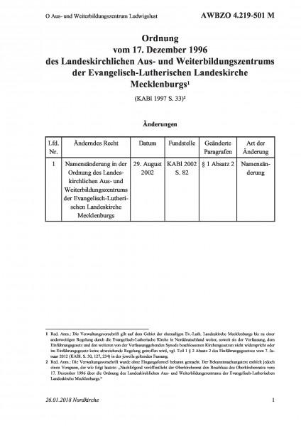 4.219-501 M O Aus- und Weiterbildungszentrum Ludwigslust