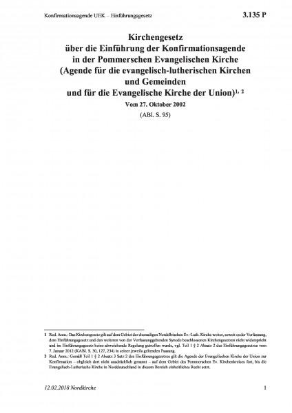3.135 P Konfirmationsagende UEK – Einführungsgesetz