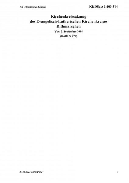 1.400-514 KK Dithmarschen Satzung