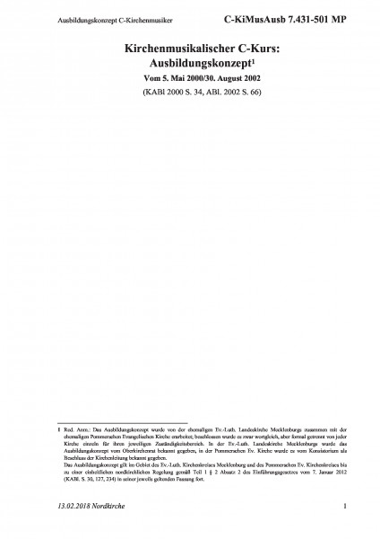 7.431-501 MP Ausbildungskonzept C-Kirchenmusiker