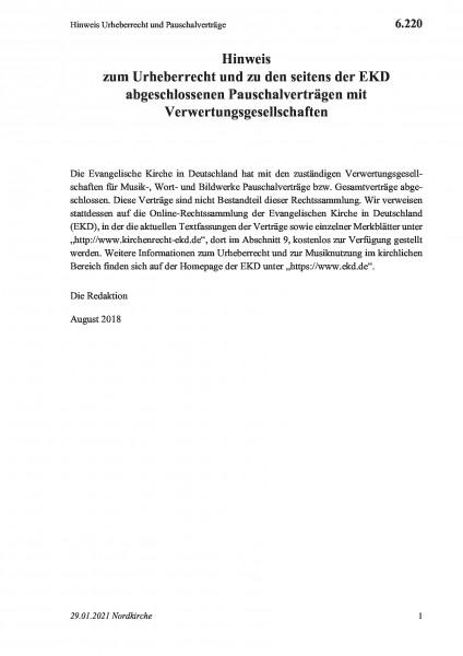 6.220 Hinweis Urheberrecht und Pauschalverträge