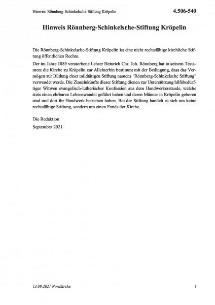 4.506-540 Hinweis Rönnberg-Schinkelsche-Stiftung Kröpelin