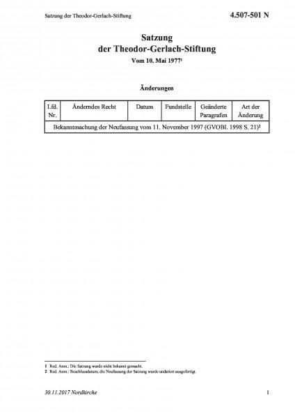 4.507-501 N Satzung der Theodor-Gerlach-Stiftung