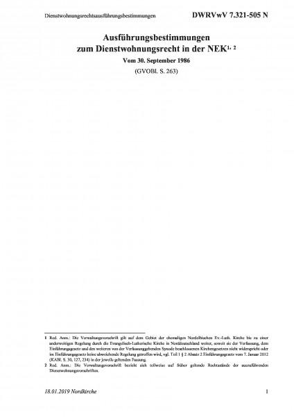 7.321-505 N Dienstwohnungsrechtsausführungsbestimmungen
