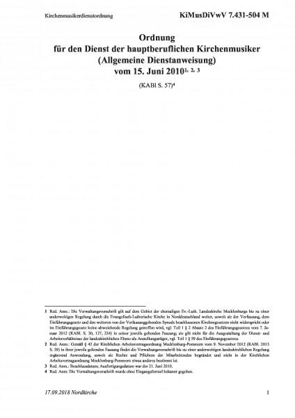 7.431-504 M Kirchenmusikerdienstordnung