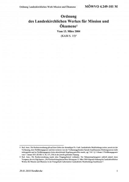 4.249-101 M Ordnung Landeskirchliches Werk Mission und Ökumene