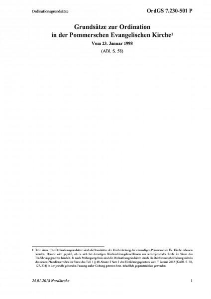 7.230-501 P Ordinationsgrundsätze