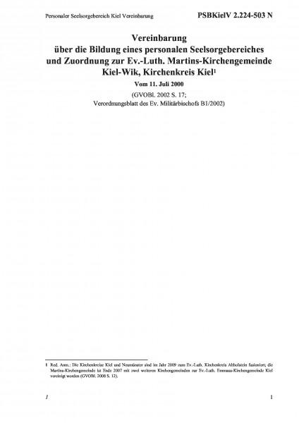 2.224-503 N Personaler Seelsorgebereich Kiel Vereinbarung
