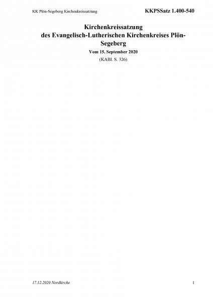 1.400-540 KK Plön-Segeberg Kirchenkreissatzung