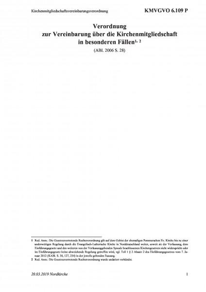 6.109 P Kirchenmitgliedschaftsvereinbarungsverordnung