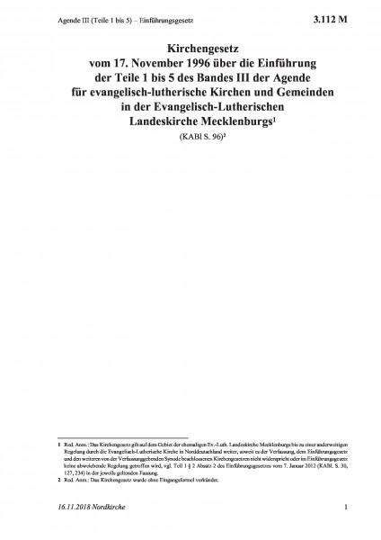 3.112 M Agende III (Teile 1 bis 5) – Einführungsgesetz