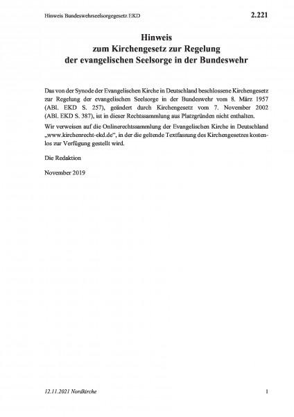 2.221 Hinweis Bundeswehrseelsorgegesetz EKD