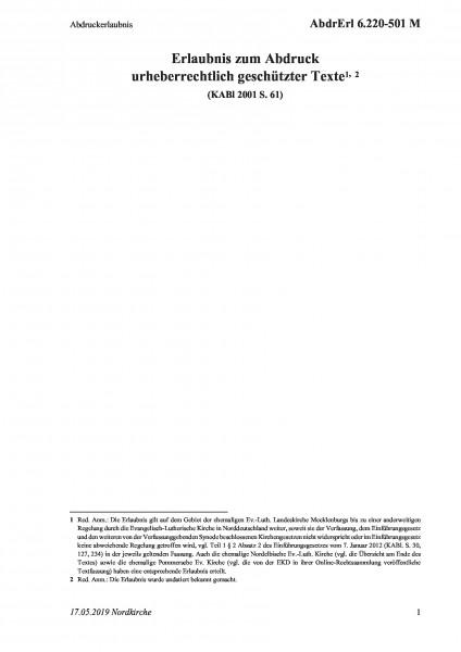 6.220-501 M Abdruckerlaubnis