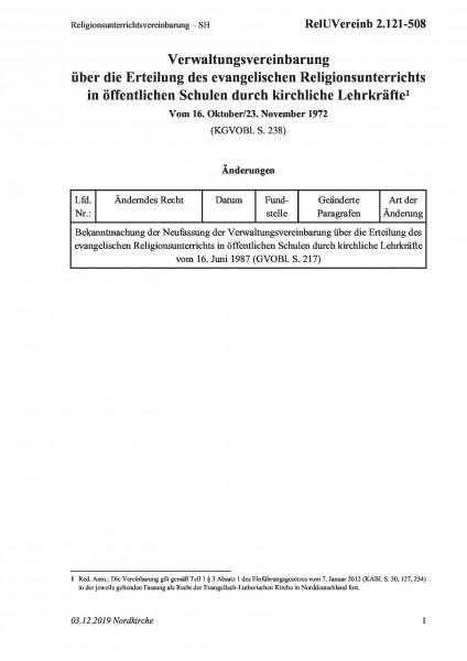2.121-508 Religionsunterrichtsvereinbarung – SH