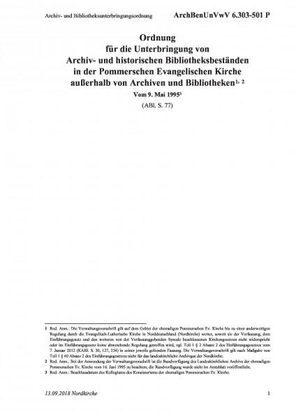 6.303-501 P Archiv- und Bibliotheksunterbringungsordnung