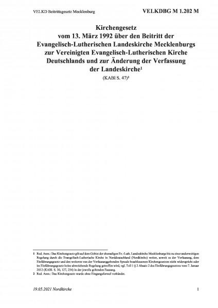 1.202 M VELKD Beitrittsgesetz Mecklenburg
