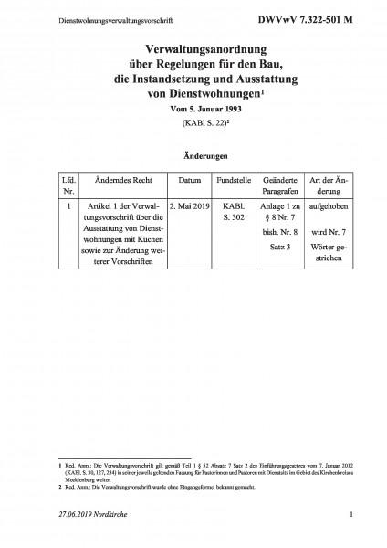7.322-501 M Dienstwohnungsverwaltungsvorschrift