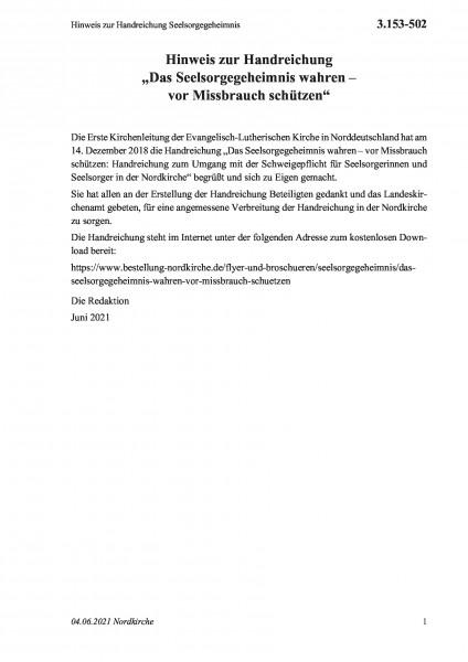 3.153-502 Hinweis zur Handreichung Seelsorgegeheimnis