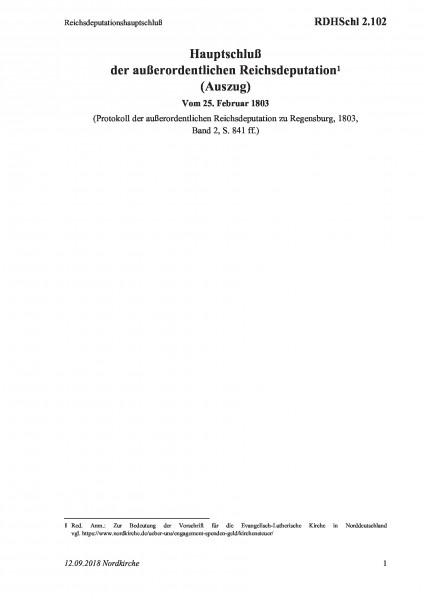 2.102 Reichsdeputationshauptschluß