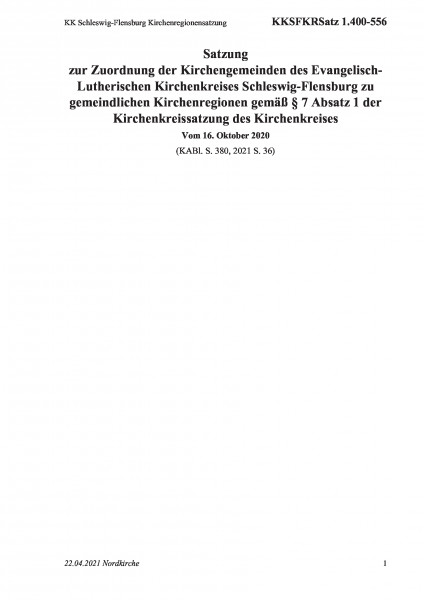 1.400-556 KK Schleswig-Flensburg Kirchenregionensatzung