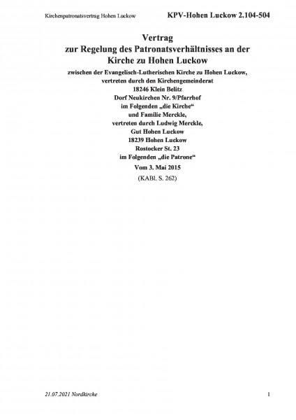 2.104-504 Kirchenpatronatsvertrag Hohen Luckow