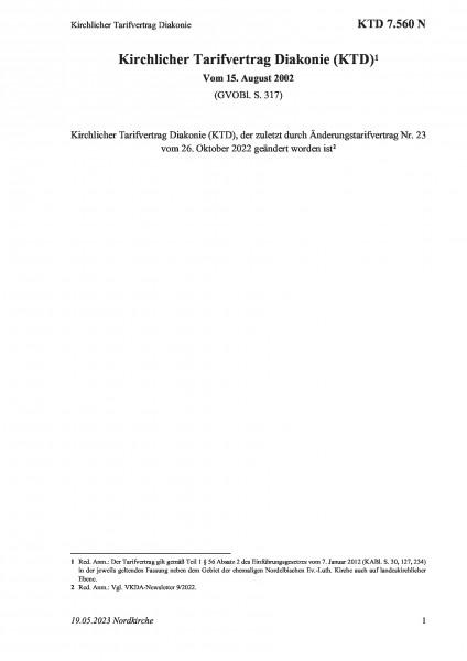 7.560 N Kirchlicher Tarifvertrag Diakonie