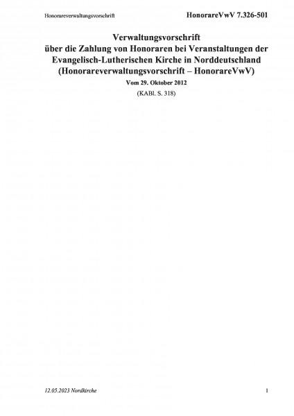 7.326-501 Honorareverwaltungsvorschrift