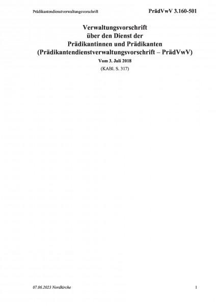 3.160-501 Prädikantendienstverwaltungsvorschrift