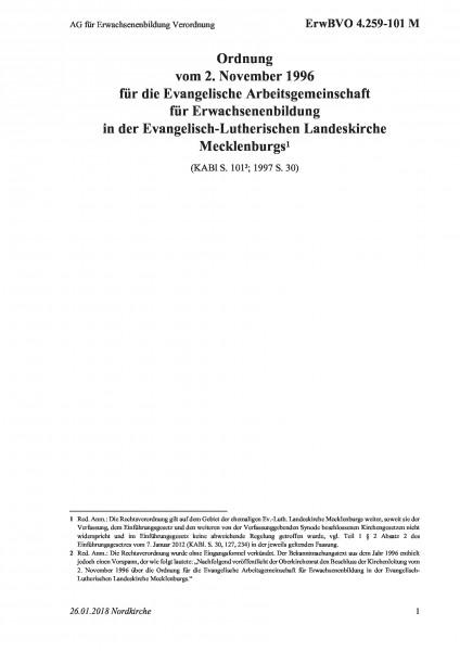 4.259-101 M AG für Erwachsenenbildung Verordnung