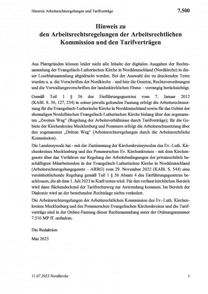 7.500 Hinweis Arbeitsrechtsregelungen und Tarifverträge
