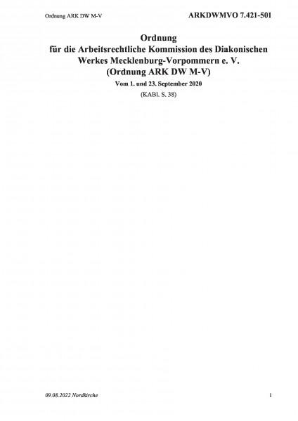 7.421-501 Ordnung ARK DW M-V