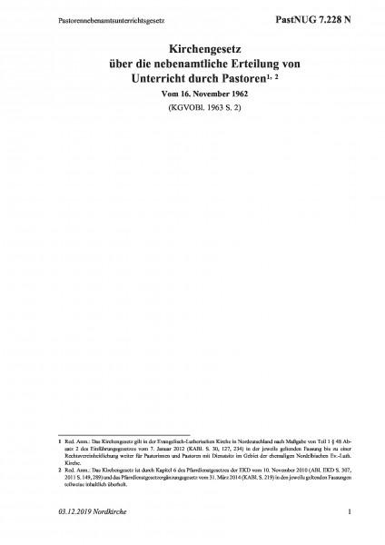 7.228 N Pastorennebenamtsunterrichtsgesetz