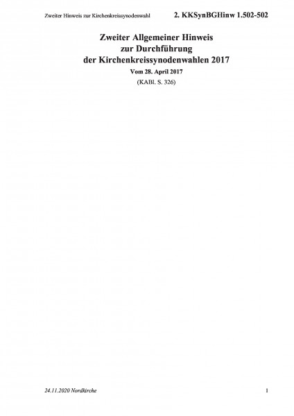 1.502-502 Zweiter Hinweis zur Kirchenkreissynodenwahl