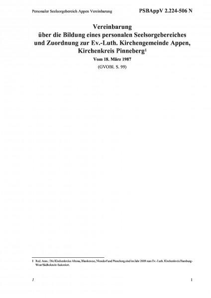 2.224-506 N Personaler Seelsorgebereich Appen Vereinbarung