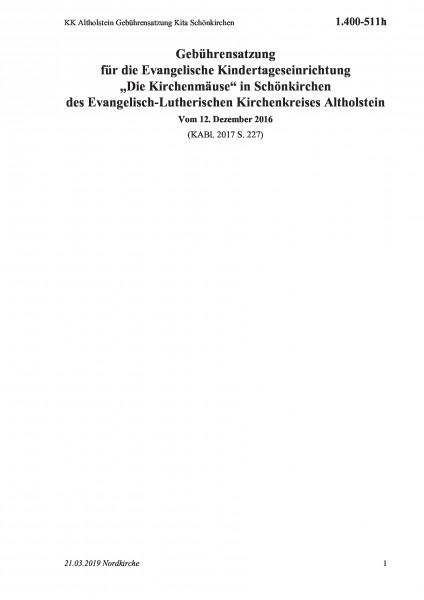 1.400-511h KK Altholstein Gebührensatzung Kita Schönkirchen