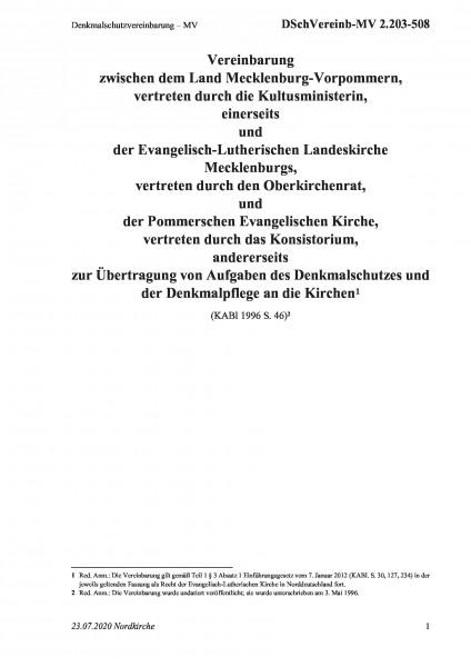 2.203-508 Denkmalschutzvereinbarung – MV