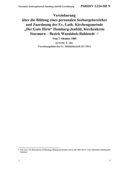 2.224-505 N Personaler Seelsorgebereich Hamburg-Jenfeld Vereinbarung